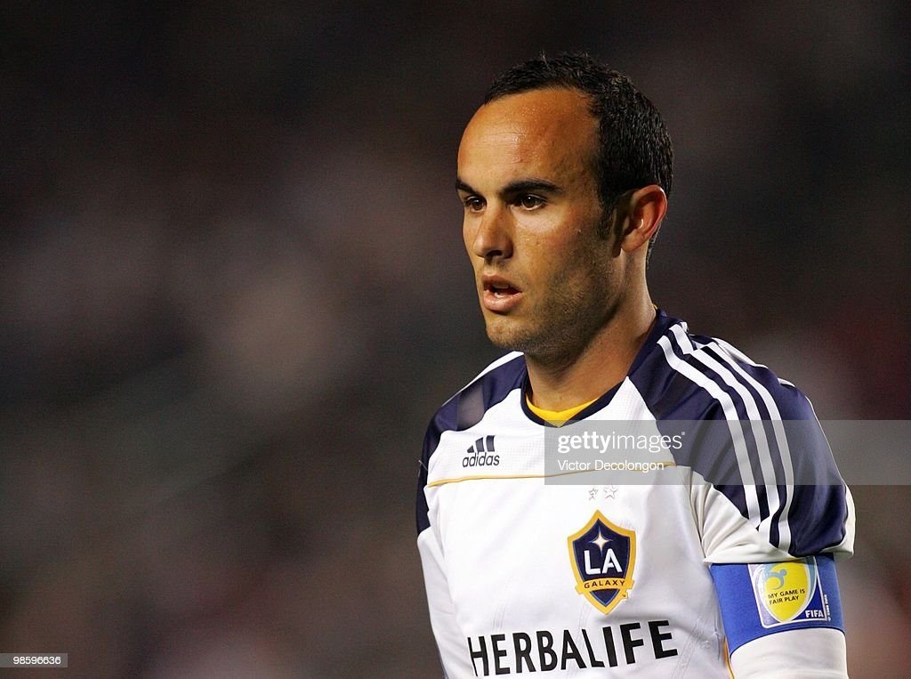 Landon Donovan #10 of the Los Angeles Galaxy walks to the corner to take a corner kick in the first half during their MLS match against Real Salt Lake at the Home Depot Center on April 17, 2010 in Carson, California. The Galaxy defeated Real Salt Lake 2-1.