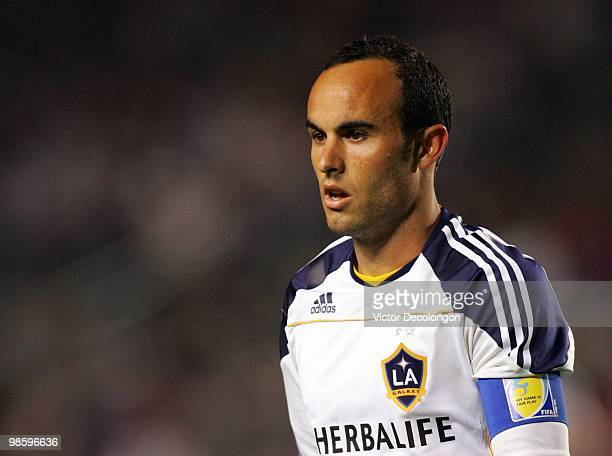 Landon Donovan of the Los Angeles Galaxy walks to the corner to take a corner kick in the first half during their MLS match against Real Salt Lake at...