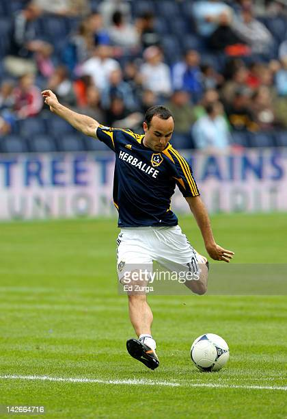 Landon Donovan of the Los Angeles Galaxy warms ups before a game against the Sporting Kansas City at Livestrong Sporting Park on April 7 2012 in...