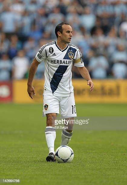 Landon Donovan of the Los Angeles Galaxy works the ball during a game against Sporting Kansas City at Livestrong Sporting Park on April 7 2012 in...