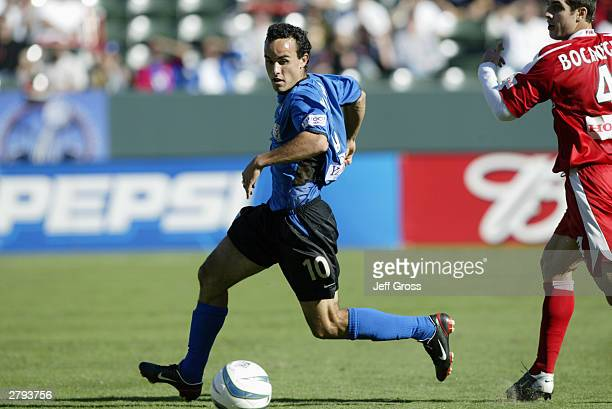 Landon Donovan of the San Jose Earthquakes looks to control the ball against the Chicago Fire during the MLS Cup on November 23 2003 at the The Home...