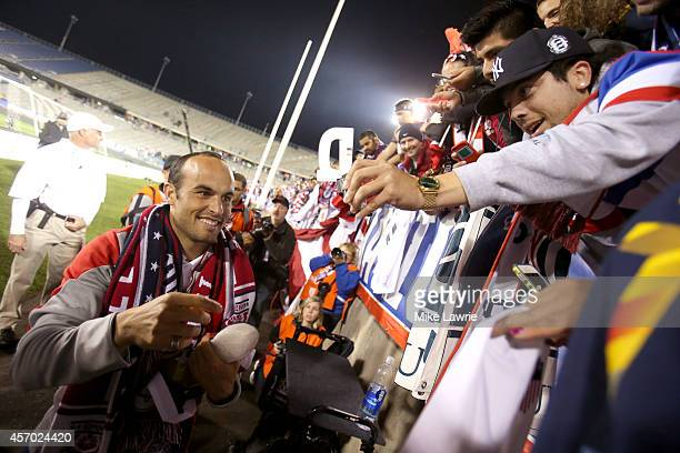 Landon Donovan of the United States acknowledges the fans after his final match during an international friendly against Ecuador at Rentschler Field...