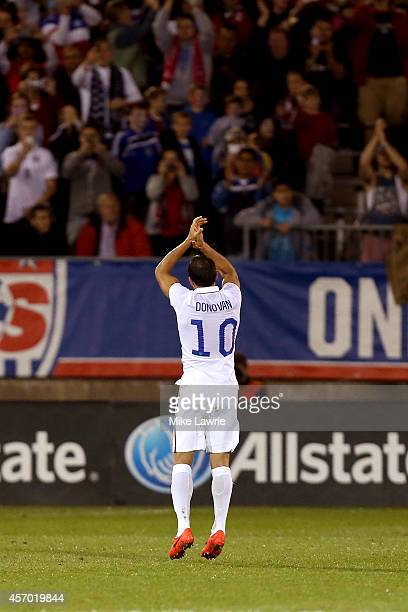 Landon Donovan of the United States applauds the fans as he is substituted against Ecuador during an international friendly at Rentschler Field on...