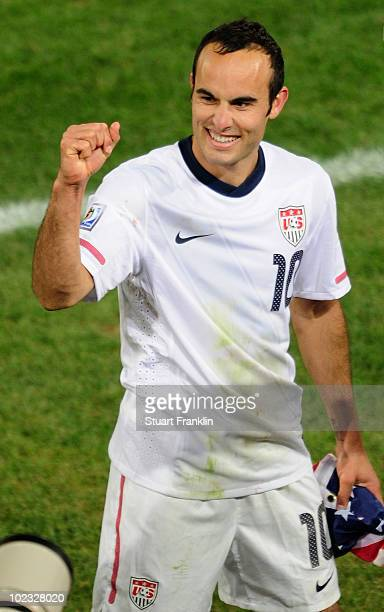 Landon Donovan of the United States celebrates the victory that sends the USA through to the second round in the 2010 FIFA World Cup South Africa...