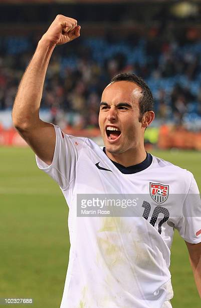 Landon Donovan of the United States celebrates victory that sends the USA through to the second round in the 2010 FIFA World Cup South Africa Group C...