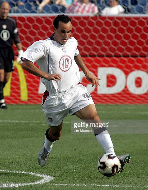Landon Donovan of the United States controls the ball against Jamaica during the CONCACAF quarterfinal match on July 16, 2005 at Gillette Stadium in...
