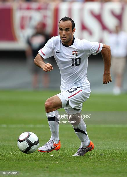 Landon Donovan of the United States handles the ball during a preWorld Cup warmup match against Turkey at Lincoln Financial Field on May 29 2010 in...