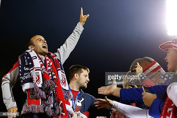 Landon Donovan of the United States interacts with fans after an international friendly with Ecuador at Rentschler Field on October 10 2014 in East...