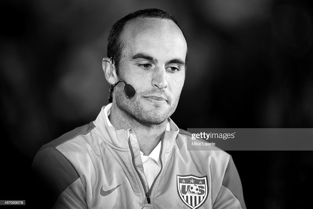 Landon Donovan #10 of the United States is interviewed at the half against Ecuador during an international friendly at Rentschler Field on October 10, 2014 in East Hartford, Connecticut.