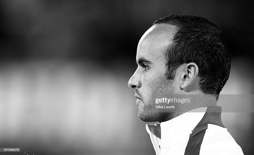 Landon Donovan #10 of the United States looks in during the National Anthems prior to an international friendly against Ecuador at Rentschler Field on October 10, 2014 in East Hartford, Connecticut.