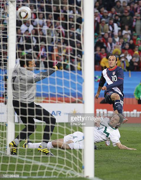 Landon Donovan of the United States scores his team's first goal during the 2010 FIFA World Cup South Africa Group C match between Slovenia and USA...