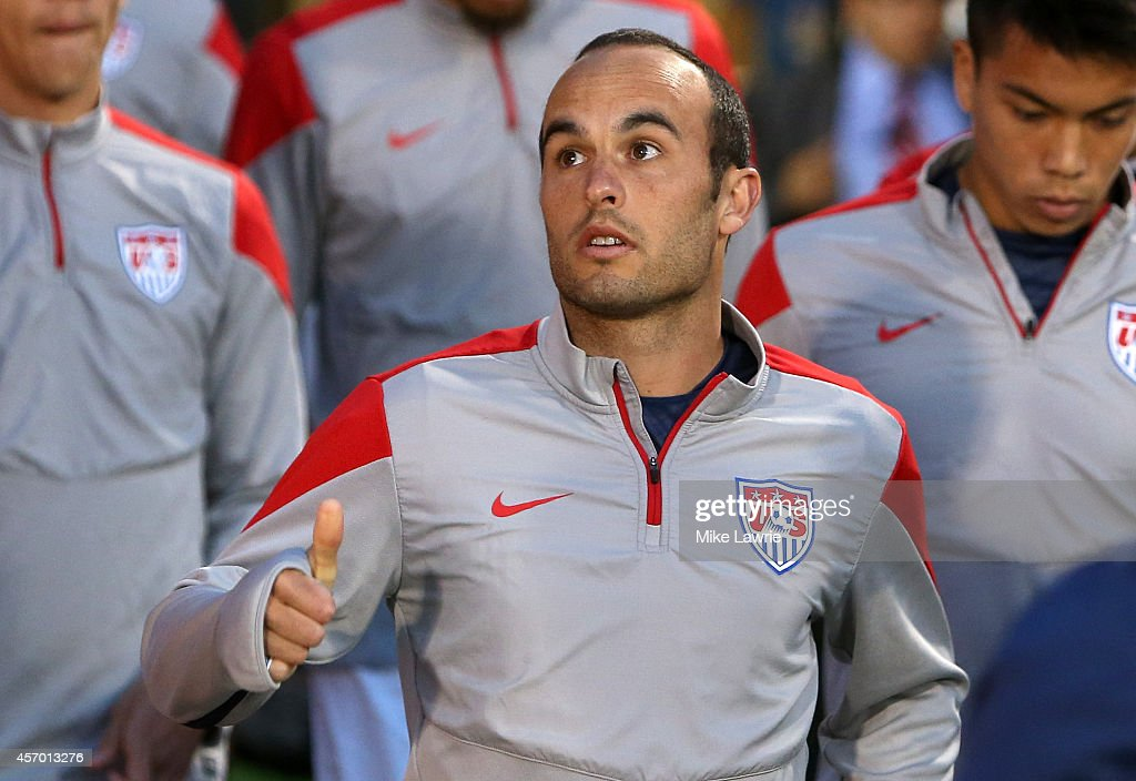 Landon Donovan of the United States takes the field during warm ups during an international friendly at Rentschler Field on October 10, 2014 in East Hartford, Connecticut.