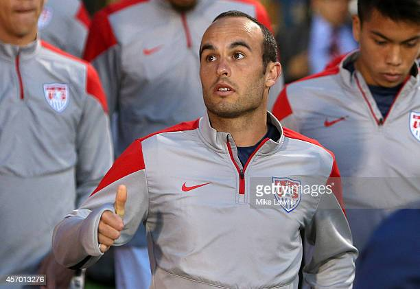 Landon Donovan of the United States takes the field during warm ups during an international friendly at Rentschler Field on October 10 2014 in East...