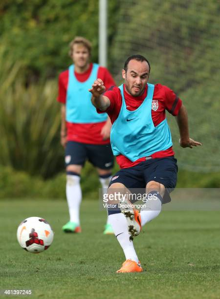 Landon Donovan of the US Men's National Soccer team trains at StubHub Center on January 7 2014 in Los Angeles California