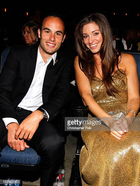 Landon Donovan of the US soccer team and member of the LA Galaxy sits with wife Bianca Kajlich at the 2010 ESPY Awards at Nokia Theatre LA Live on...