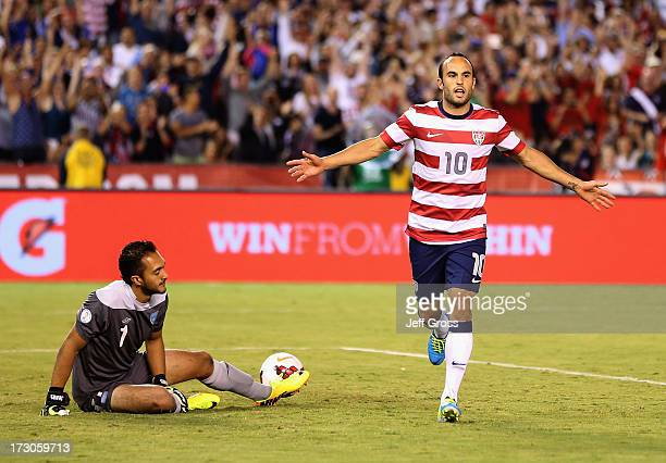 Landon Donovan of the USA celebrates after converting a penalty kick as goalkeeper Ricardo Jerez of Guatemala looks on in the second half at Qualcomm...