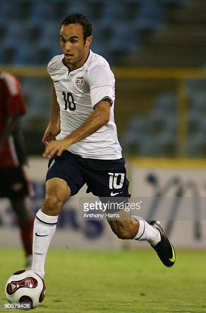 Landon Donovan of United States controls the ball during the FIFA 2010 World Cup qualifier against Trinidad And Tobago at the Hasely Crawford Stadium...