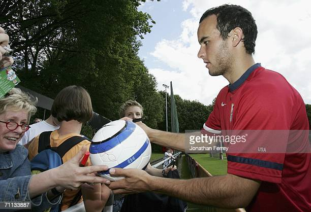 Landon Donovan signs autographs during a training session for the United States National Team on June 6 2006 at Edmund Plambeck Stadium in...