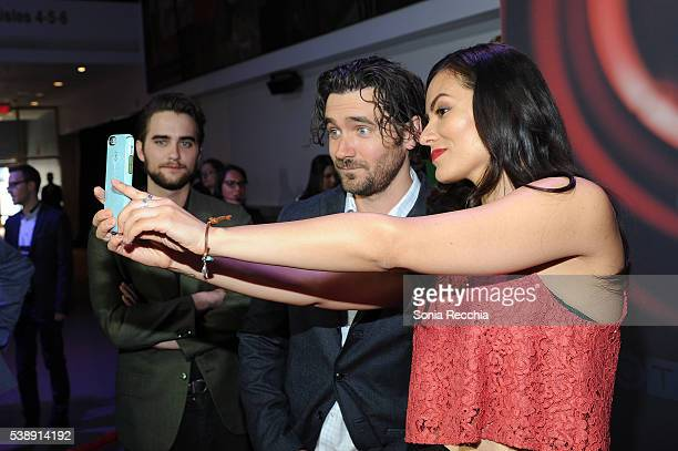 Landon Liboiron Allan Hawco and Jessica Matten attend CTV Upfronts 2016 at Sony Centre for the Performing Arts on June 8 2016 in Toronto Canada