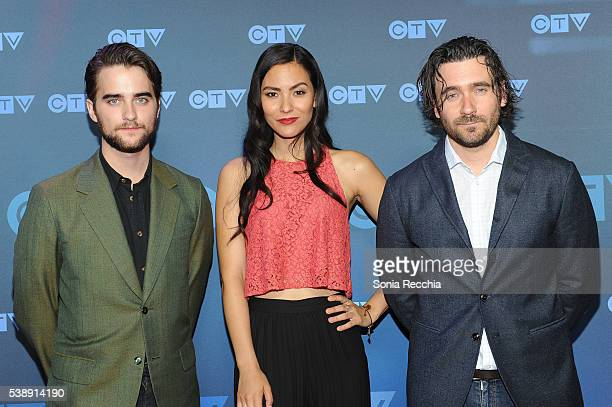 Landon Liboiron Jessica Matten and Allan Hawco attend CTV Upfronts 2016 at Sony Centre for the Performing Arts on June 8 2016 in Toronto Canada