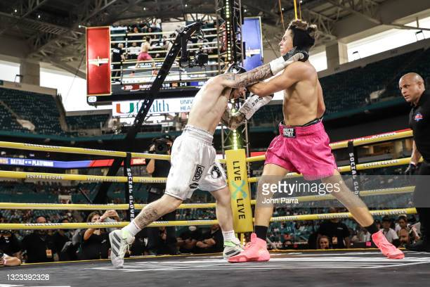 Landon McBroom fights Ben Azelart during LivexLive's Social Gloves: Battle Of The Platforms PPV Livestream at Hard Rock Stadium on June 12, 2021 in...