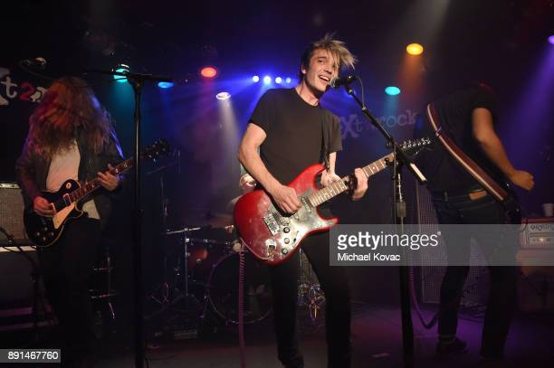 Landon Milbourn Josh Cole Katz and Alex Espiritu of the band 'Badflower' perform onstage at the neXt2rock 2017 Finale Event at Viper Room on December...