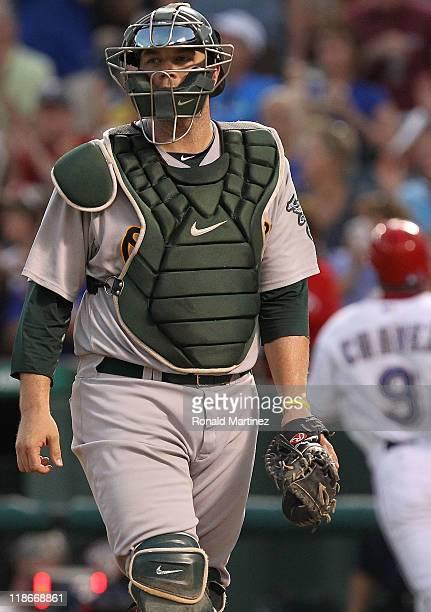 Landon Powell of the Oakland Athletics at Rangers Ballpark in Arlington on July 9, 2011 in Arlington, Texas.