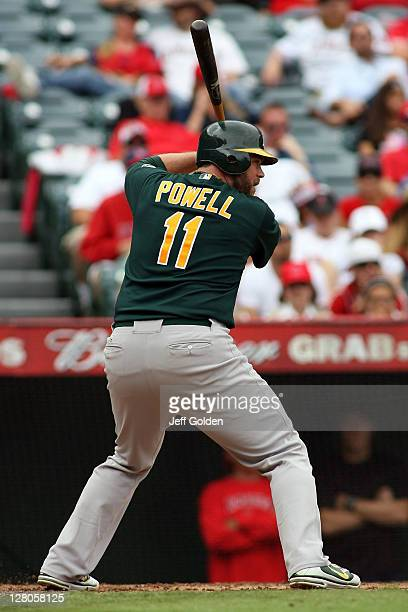 Landon Powell of the Oakland Athletics bats against the Los Angeles Angels of Anaheim in the third inning at Angel Stadium of Anaheim on September 25...