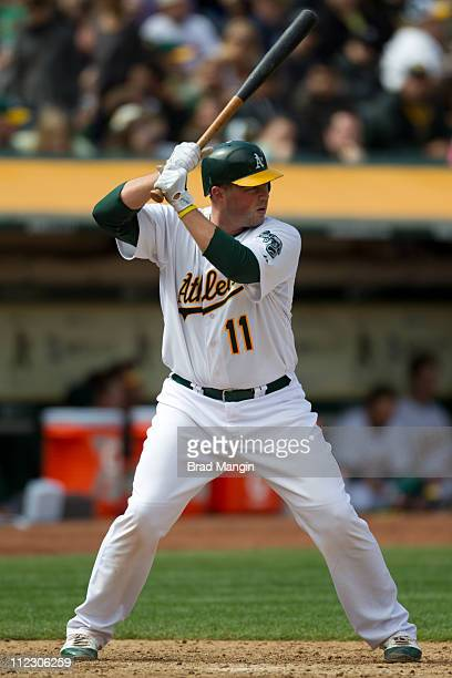 Landon Powell of the Oakland Athletics bats during the game between the Detroit Tigers and the Oakland Athletics on April 17 2011 at OaklandAlameda...