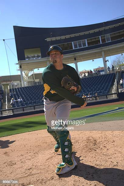 Landon Powell of the Oakland Athletics during the game against the Milwaukee Brewers at the Maryvale Stadium in Maryvale, Arizona on February 25,...