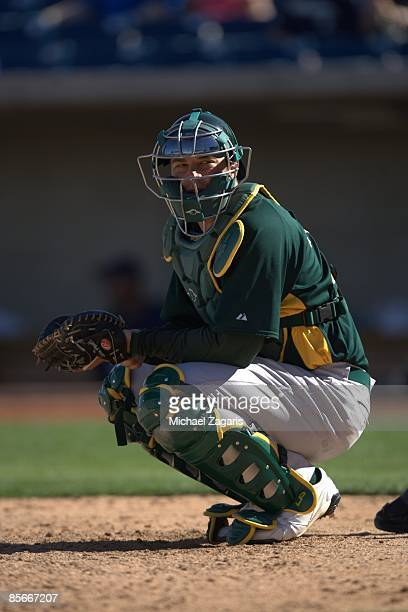 Landon Powell of the Oakland Athletics in the field during the game against the Milwaukee Brewers at the Maryvale Stadium in Maryvale, Arizona on...