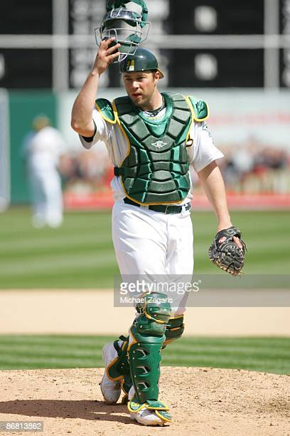 Landon Powell of the Oakland Athletics in the field during the game against the Seattle Mariners at the Oakland Coliseum on April 11, 2009 in...
