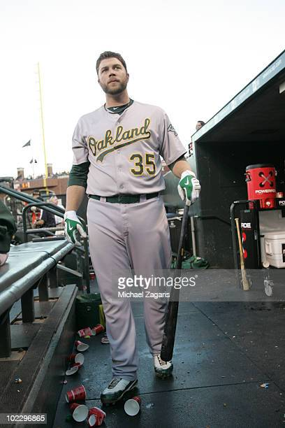 Landon Powell of the Oakland Athletics standing in the dugout prior to the game against the San Francisco Giants at AT&T Park on June 12, 2010 in San...