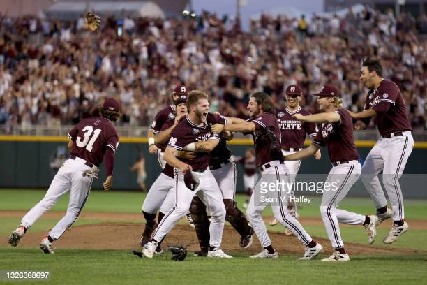 Landon Sims of the Mississippi St. Celebrates after Mississippi St. Beat Vanderbilt 9-0 during game three of the College World Series Championship at...