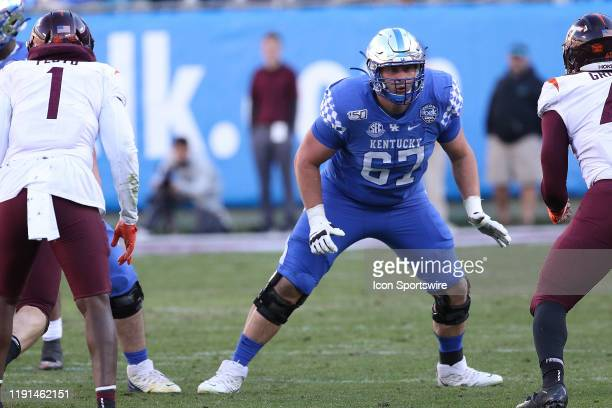 Landon Young during the Belk Bowl college football game between the Virginia Tech Hokies and the Kentucky Wildcats on December 31 at Bank of America...