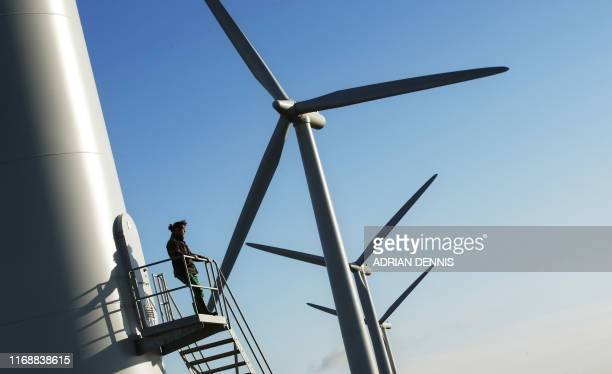 Landowner Adam Twine is pictured at Westmill Wind Farm Coop the first onshore wind farm to be built in the southeast of England in Watchfield near...