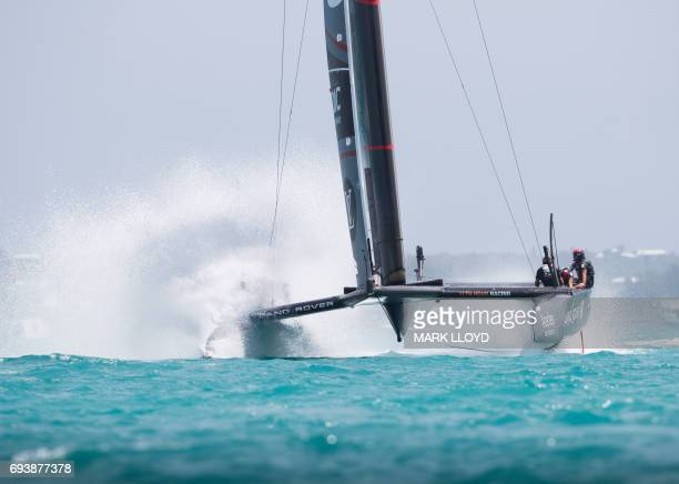 LandRover BAR, skippered by Ben Ainslie, races against Emirates Team New Zealand, skippered by Peter Burling, during the 35th America's Cup...