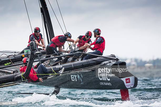 LandRover BAR skippered by Sir Ben Ainslie in action during the Louis Vuitton Americas Cup World Series on October 18 2015 in Hamilton Bermuda