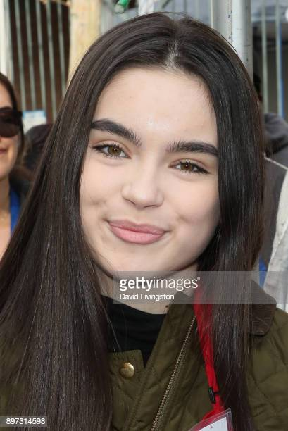 Landry Bender is seen at the Los Angeles Mission's Christmas Celebration on Skid Row on December 22 2017 in Los Angeles California