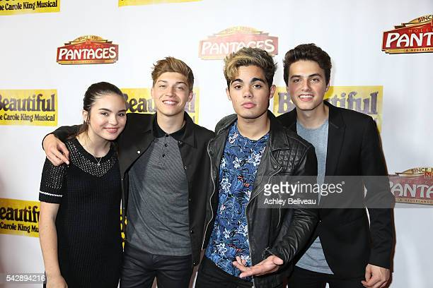Landry Bender Ricky Garcia Emery Kelly Liam Attridge attend the Premiere Of 'Beautiful The Carole King Musical' at the Pantages Theatre on June 24...