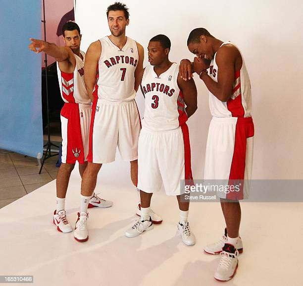 Landry Fields does a little zoolander in front of Andrea Bargnani Kyle Lowry and DeMar DeRozan mug for the camera as the Toronto Raptors hold Media...