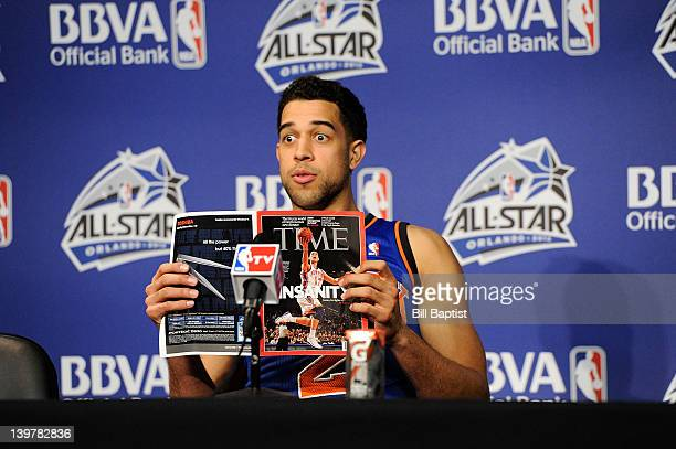 Landry Fields of Team Shaq fields questions during a press conference following the BBVA Rising Stars Challenge as part of 2012 AllStar Weekend at...