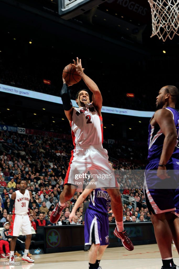 Landry Fields #2 of the Toronto Raptors drives to the basket against the Sacramento Kings on January 4, 2013 at the Air Canada Centre in Toronto, Ontario, Canada.