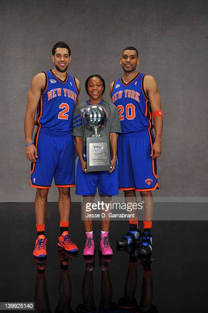 Landry FieldsCappie Pondexter and Allan Houston of Team New York pose for a portrait after winning the Haier Shooting Stars as part of 2012 AllStar...