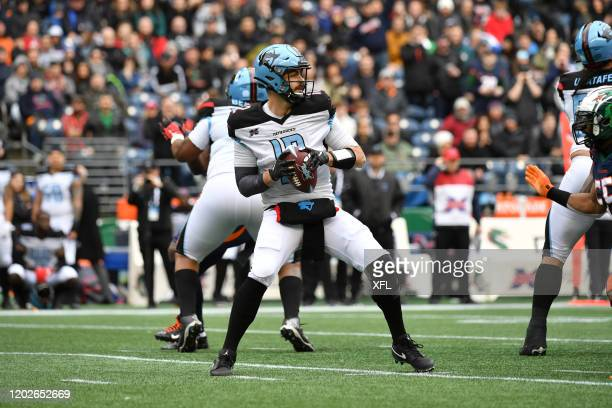Landry Jones of the Dallas Renegades drops back to pass during the XFL game against the Seattle Dragons at CenturyLink Field on February 22 2020 in...