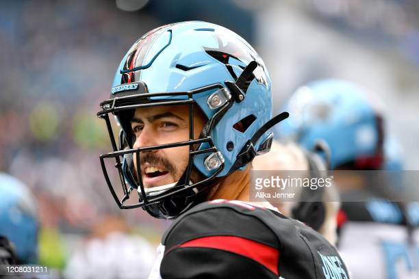 Landry Jones of the Dallas Renegades looks on before the game against the Seattle Dragons at CenturyLink Field on February 22, 2020 in Seattle,...