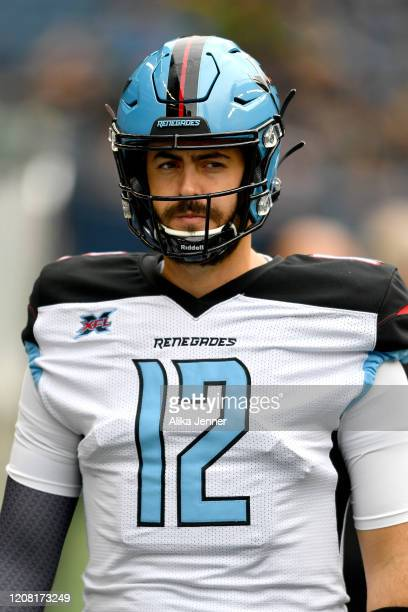 Landry Jones of the Dallas Renegades looks on before the game against the Seattle Dragons at CenturyLink Field on February 22 2020 in Seattle...