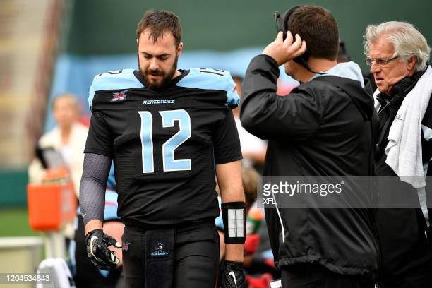 Landry Jones of the Dallas Renegades on the sidelines during the XFL game against the Houston Roughnecks at Globe Life Park on March 1 2020 in...