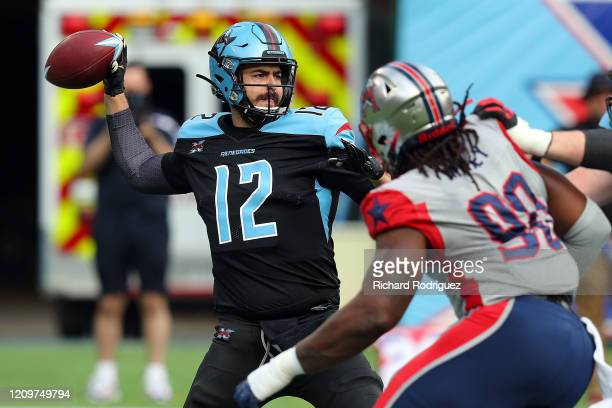 Landry Jones of the Dallas Renegades passes against the Houston Roughnecks in the first half at an XFL football game on March 01 2020 in Arlington...