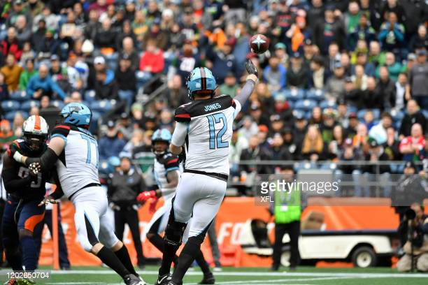 Landry Jones of the Dallas Renegades passes the ball against the Seattle Dragons at CenturyLink Field on February 22 2020 in Seattle Washington
